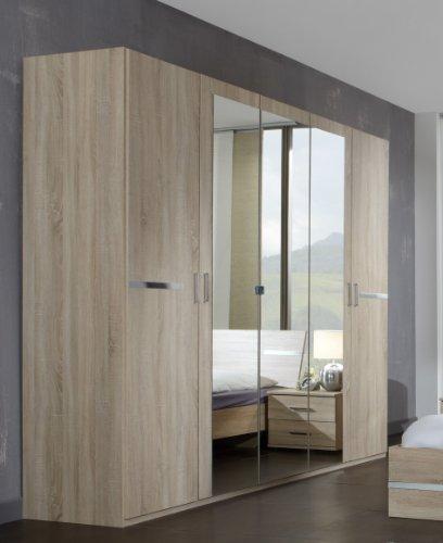 Wimex Kleiderschrank/ Drehtürenschrank Anna, 5 Türen, 3 Spiegel, (B/H/T) 210 x 58 x 225 cm, Eiche Sägerau