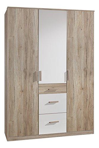 Wimex Kleiderschrank/ Drehtürenschrank Cariba, (B/H/T) 135 x 199 x 58 cm, San Remo-Eiche/ Absetzung Weiß