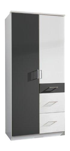 Wimex Kleiderschrank/ Drehtürenschrank Click, 2 Türen, 2 große, 1 kleine Schublade, (B/H/T) 90 x 199 x 58 cm, Weiß/ Absetzung Anthrazit