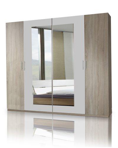 Wimex Kleiderschrank/ Drehtürenschrank Franziska, 4 Türen, (B/H/T) 225 x 208 x 58 cm, Eiche Sägerau/ Absetzung Alpinweiß