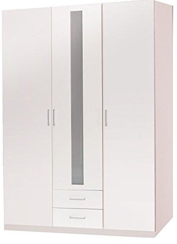 Wimex Kleiderschrank/ Drehtürenschrank Lenny, 3 Türen, 2 Schubladen, (B/H/T) 135 x 197 x 58 cm, Weiß
