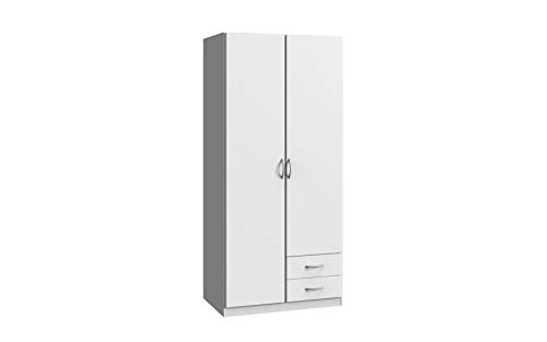 Wimex Kleiderschrank/ Drehtürenschrank Sprint, 2 Türen, 2 Schubladen, (B/H/T) 90 x 197 x 58 cm, Weiß