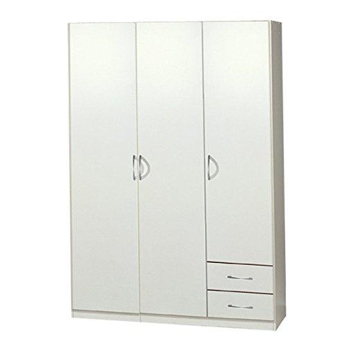 Wimex Kleiderschrank/ Drehtürenschrank Sprint, 3 Türen, 2 Schubladen, (B/H/T) 135 x 197 x 58 cm, Weiß