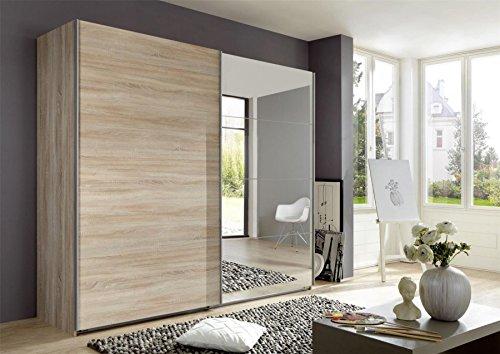 Wimex Kleiderschrank/ Schwebetürenschrank Ernie, 2 Türen, 4 Spiegelflächen, (B/H/T) 225 x 210 x 65 cm, Eiche Sägegrau
