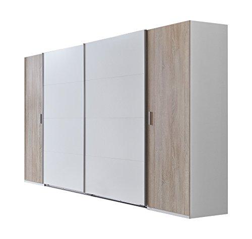 Wimex Kleiderschrank/ Schwebetürenschrank Lotto, (B/H/T) 270 x 210 x 65 cm, Weiß/ Absetzung Eiche Sägerau