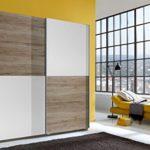 Wimex Kleiderschrank/ Schwebetürenschrank Lux, 2 Türen, (B/H/T) 180 x 198 x 64 cm, Weiß/ Absetzung San Remo-Eiche