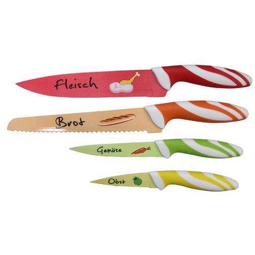 axentia Messerset 4-teilig, buntes Küchenmesser-Set mit Motiven, Fleischmesser, Brotmesser, Gemüsemesser, Obstmesser, Edelstahl-klingen und Softgriff