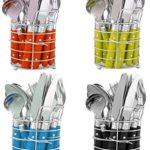 niboline 24-Teiliges Besteckset Edelstahl Schwarz mit Ständer-Besteckkorb Besteck für 6 Personen Menü-Besteck Color-Besteck mit Kunststoffgriffen geliefert Wird in Geschenk-Dose