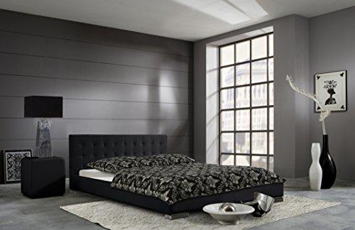 sette notti Polsterbett Bett 100x200 cm Weiß, Bett mit gesteppten Kopfteil, Kunstleder Bett, Liegefläche 100 x 200 cm, Sandra