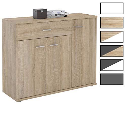 CARO-Möbel Kommode Estelle Sideboard Mehrzweckschrank, 3 Farben mit 3 Türen und 1 Schublade, 88 cm breit