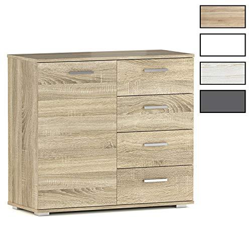 CARO-Möbel Kommode Sideboard Schrank Chicago in 3, Tür und 4 Schubladen Highboard