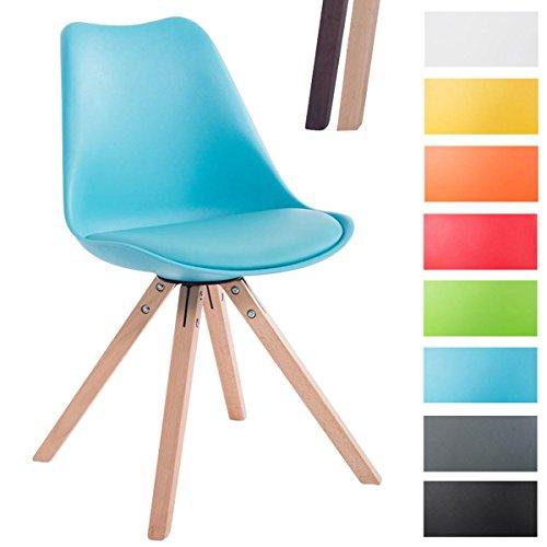 CLP Design Retro-Stuhl Toulouse Square mit Kunstlederbezug und Sitzpolster | Kunstoff-Lehnstuhl mit Holzgestell | In Verschiedenen Farben