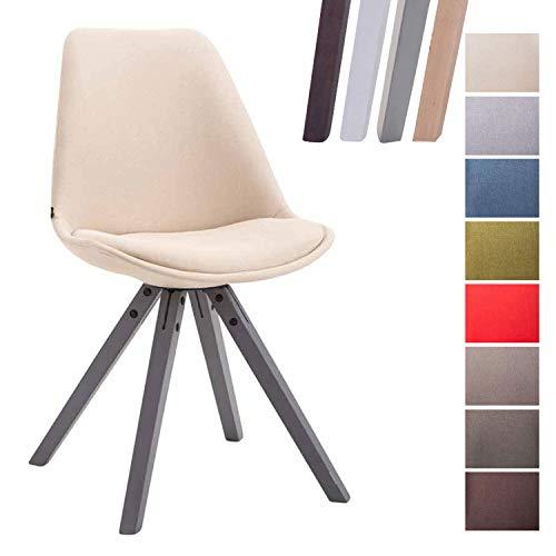 CLP Design Retro-Stuhl Toulouse Square mit Stoffbezug und hochwertigem Sitzpolster I Lehnstuhl mit stabilem Holzgestell I Sitzhöhe 48 cm