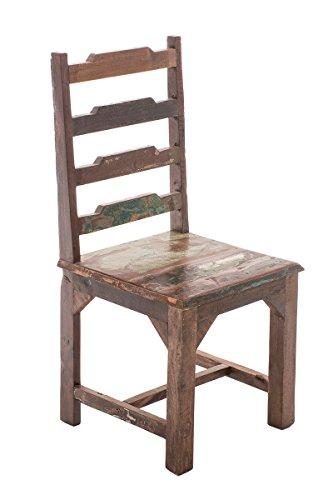 CLP Esszimmerstuhl AMBA aus massivem recyceltem Teakholz I Holzstuhl im Used-Look I Küchenstuhl aus nachhaltiger Produktion Bunt