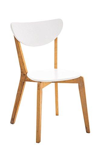 CLP Esszimmerstuhl Arabia mit Birkenholzgestell I Moderner Küchenstuhl mit Einer Sitzhöhe von 44 cm I Lehnstuhl mit weißer Lackierung im Sitzbereich Natura-weiß