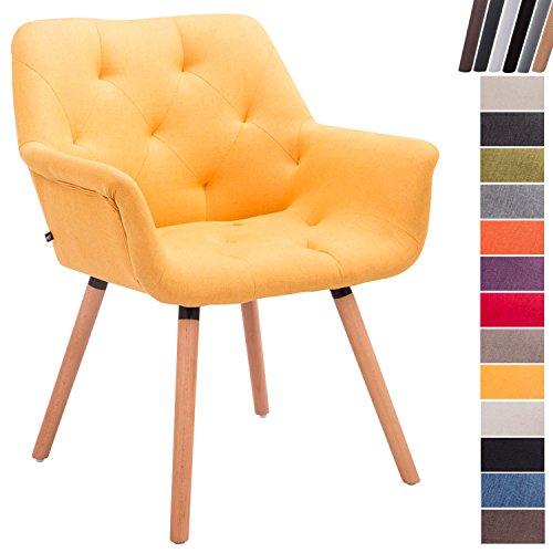 CLP Esszimmerstuhl Cassidy mit Stoffbezug und sesselförmigem Sitz I Retrostuhl mit Armlehne I In Verschiedenen Farben erhältlich Gelb, Gestellfarbe: Natura