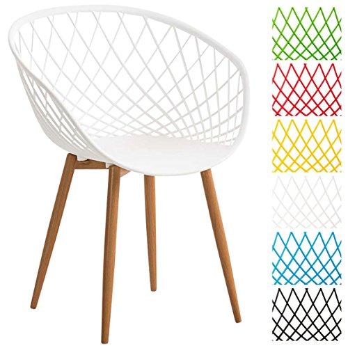 CLP Esszimmerstuhl MORA mit Pflegeleichter Kunststoff-Sitzschale I Retrostuhl mit Lehne und Einem Metallgestell in Holzoptik I In Verschiedenen Farben erhältlich