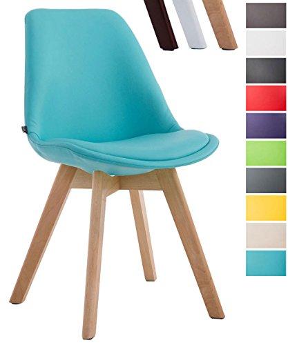 CLP Esszimmerstuhl Manado mit Kunstlederbezug | Lehnstuhl mit Holzgestell | Polsterstuhl in Verschiedenen Farben erhältlich | Sitzhöhe 47 cm