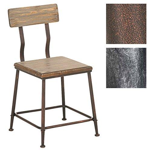 CLP Industrial Design-Stuhl Queens mit massivem Holzsitz und Rückenlehne | Bistrostuhl mit stabilem Metallgestell und Einer Sitzhöhe von: 44 cm | In Verschiedenen Farben erhältlich
