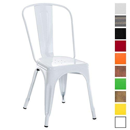 CLP Metallstuhl Benedikt mit hoher Rückenlehne und Bodenschonern | Stapelstuhl aus Metall mit Einer Sitzhöhe von: 46 cm | In Verschiedenen Farben erhältlich