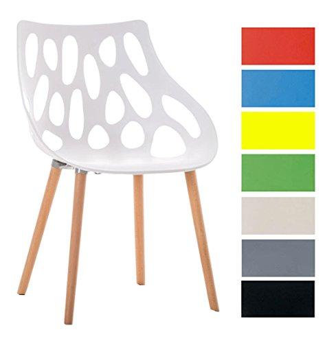 CLP Retrostuhl Hailey mit Pflegeleichter Kunststoff-Sitzschale und Einer Sitzhöhe von: 44 cm I Esszimmerstuhl mit Lehne und Buchenholzgestell I In Verschiedenen Farben erhältlich