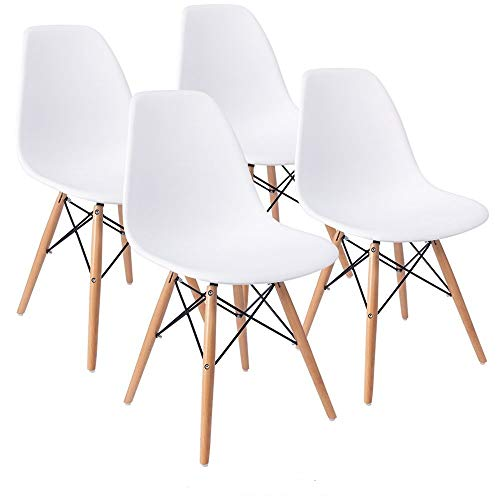 COMFORTA BLE Plus Set of 4 Dining Room Chairs Eiffel DSW Dining Bedroom Kitchen White Retro Plastic Seat and Wooden Legs