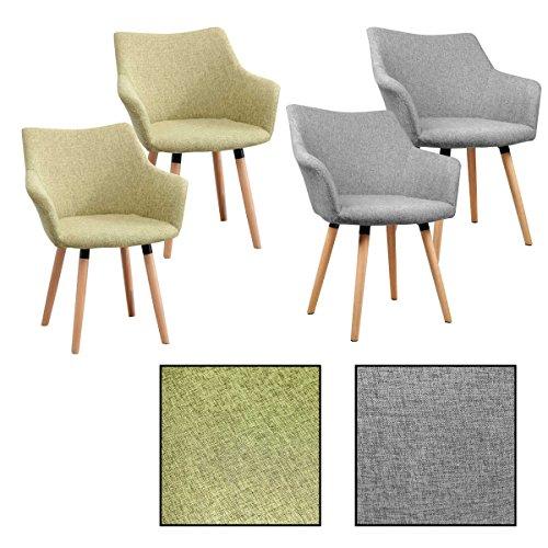 ESTEXO 2/4/6/8x Retro - Esszimmerstuhl Tomke, Stühle, Stuhl, Küchenstuhl, Esszimmerstühle, Grau, Grün