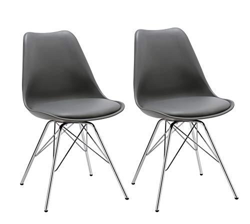 Esszimmerstuhl 2er Set Küchenstuhl Kunststoff mit Sitzkissen Stuhl Vintage Design Retro Farbauswahl 518J