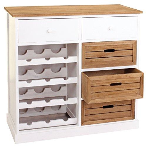 Mendler Weinregal HWC-B96, Kommode Flaschenregal für 12 Flaschen mit Schubladen, Landhaus 86x87x37cm