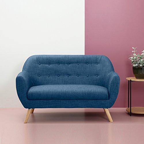 Multistore 2002 Polster Sofa 2-Sitzer Couch, 132x66x84cm, Strukturstoff in Blau, Holzbeine
