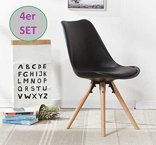 OYE HOYE Retro Designer Stuhl Esszimmerstühle Wohnzimmerstühl, mit bequem Gepolstertem Sitz, aus Hochwertigem Strapazierfähigem Kunststoff und Buchenholz - /