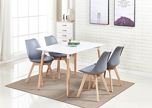 P&N Homewares® Lorenzo Esstisch und 4 Stühle Set Retro und Modern Dining Set Weiß Schwarz und Grau Stühle mit weißen Esstisch skandinavisch