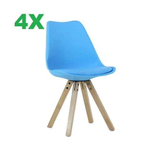 P&N Homewares® (Satz von 4 Sofia Eiffelturm inspiriert Stuhl aus Kunststoff Retro Weiß Schwarz Grau Rot Gelb Pink Grün Blau weiß Skandinavischen Stuhl