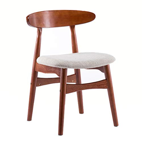 Retro Low Back Stuhl Rotbraun Massivholzrahmen Esszimmerstuhl Freizeit Diskussion Stuhl Licht Grau Linen Sponge Pad