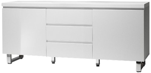 Robas Lund, Kommode, Sideboard,  Sydney, Hochglanz/weiß/verchromt, 167 x 42 x 74 cm, 48904W1