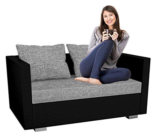 """VCM 2er Schlafsofa Sofabett Couch Sofa mit Schlaffunktion """"Sinsa Schwarz"""" 60 x 122 x 78 cm"""