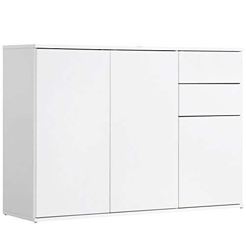 qovi9 'Die Elegante' Kommode, Sideboard, Highboard, Anrichte, Schrank in Weiß mit Push-to-Open Funktion, 117x81x34 cm (B/H/T), Made IN Germany!