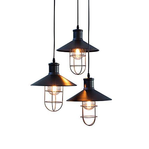 3-flammige Industrie Hängeleuchte FACTORY Metall schwarz mit drei Schirmen höhenverstellbar Industrielampe Industrieleuchte