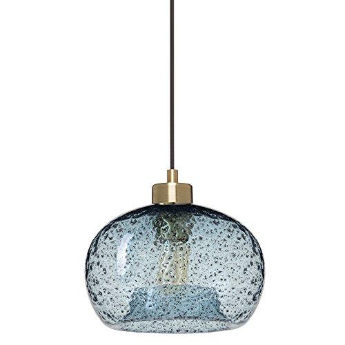 CASAMOTION Mini Pendelleuchte Mundgeblasen Glas Hängelampe, Rustikale Hängeleuchte mit Schwarz Schmirgel, Transparent/Blau