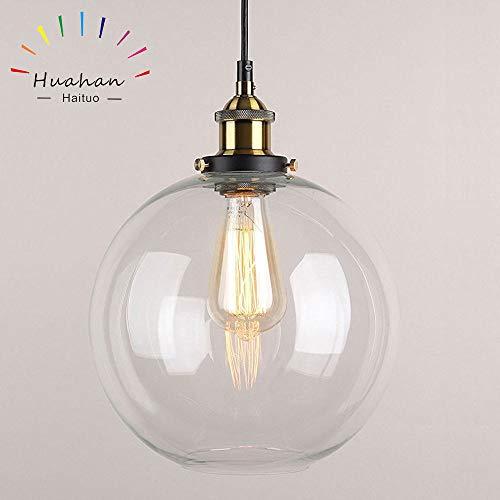 Glas Pendelleuchte Vintage Industrial Metall-Finish Klarglas Ball Runde Schatten Loft Pendelleuchte Retro-Deckenleuchte Vintage-Lampe