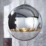 Große Design Hängelampe GLOBE 40cm Glas chrom Kugelleuchte