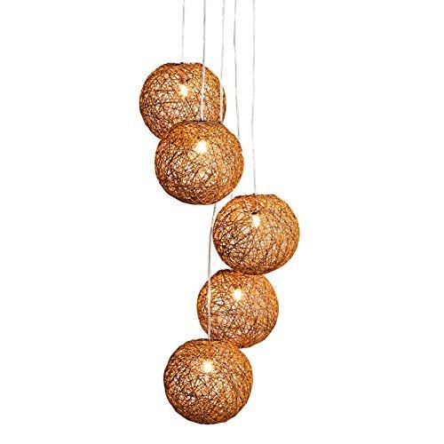 Stylische Hängeleuchte COCOON PEARLS 140cm natur braun Hängelampe mit 5 Leucht Kugeln