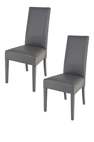 Tommychairs 2er Set Moderne Stühle Luisa Struktur aus lackiertem Buchenholz Farbe Dunkelgrau, Gepolstert und mit dunkelgrauem Kunstleder bezogen. Set von 2 Stühlen Luisa