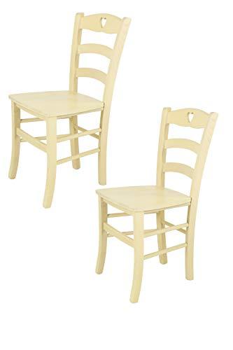 Tommychairs - 2er Set: Stühle Cuore 38 für Küche und Esszimmer, Robuste Struktur aus Buchenholz, in Anilinfarbe Weiss und Sitzfläche aus Holz