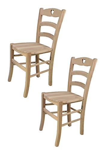 Tommychairs 2er Set Stühle Cuore klassischen Stils, Robuste Struktur aus poliertem Buchenholz, unbehandelt und 100% natürlich, im natürlichen Farbton und mit Einer Sitzfläche aus echtem Stroh
