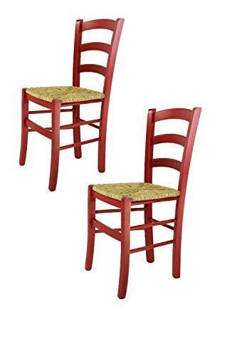 Tommychairs 2er Set: Stühle Venezia für Küche und Esszimmer, Robuste Struktur aus Buchenholz in Roter Anilinfarbe und Sitzfläche aus Stroh