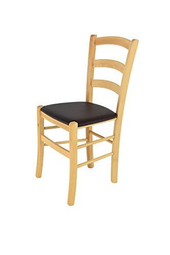 Tommychairs 2er Set Stühle Venice Robuste Struktur aus lackiertem Buchenholz im Farbton Honig und Sitzfläche mit Kunstleder in der Farbe Elfenbein bezogen