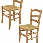 Tommychairs - 2er Set Stühle Venice für Küche und Esszimmer, robuste Struktur aus lackiertem Buchenholz im Farbton Eiche und Sitzfläche aus Stroh. Set bestehend aus 2 Stühlen Venice