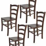 Tommychairs - 4er Set Stühle Venice für Küche und Esszimmer, robuste Struktur aus lackiertem Buchenholz im Farbton Dunkles Nussbraun und Sitzfläche aus Holz. Set bestehend aus 4 Stühlen Venice