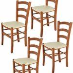 Tommychairs 4er Set Stühle Venice robuste Struktur aus lackiertem Buchenholz im Farbton Kirschbaum und Sitzfläche mit Kunstleder in der Farbe Elfenbein bezogen. Set bestehend aus 4 Stühlen Venice
